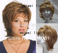 Beautiful Capless Short Dark Gloden Wavy  Human Hair Wigs  free shipping
