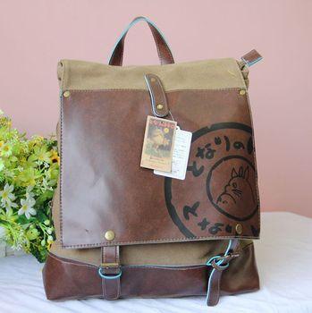 Totoro  backpack casual bag canvas bag dual-use package cartoon backpack