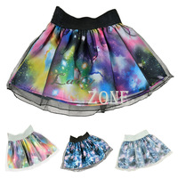 4pcs/Lot  Colorful Women's Photographic Digital Galaxy Starry Sky Scene Print Elastic Mini Skirt Wholesale&Retail14559