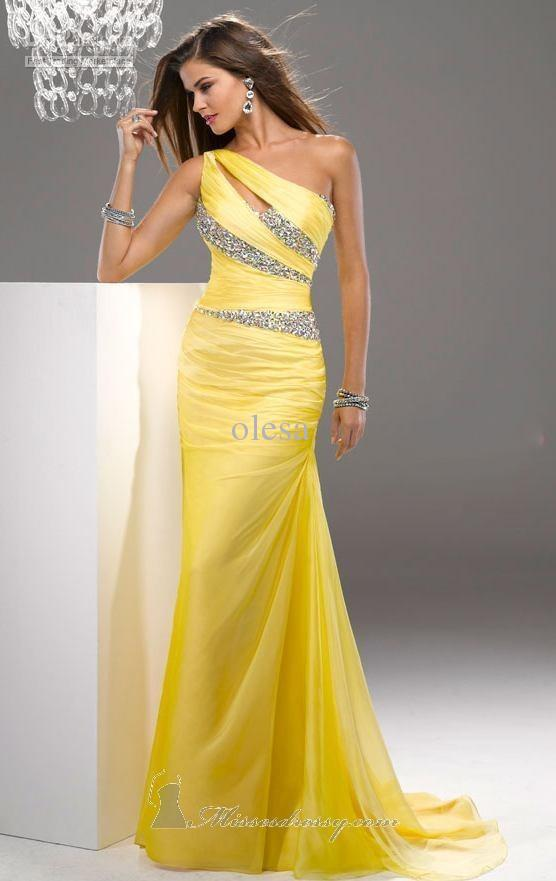 2013 Cheap Fashion Exquisite Light Yellow One-shoulder Sheath / Column Floor length Pleat Beads Rhinestone Crystal Chiffon Prom(China (Mainland))