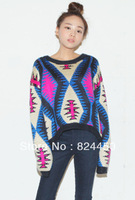 HOT!!! Vintage Geometric Pattern Womens Knit Sweater,Short Long Sleeve Pullover Knitwear For Women,Blue/Green Sweaters 1pc
