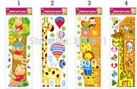 25x70cm/sheet1bear+1giraffe+ 1Monkey height+1 giraffe height  children room growth chart measure height sticker 4pcs/lot