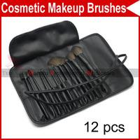 12 PCS Pro Eyelash Eyebrow Lip Eye Sponge shadow Eyeshadow Blusher Brushes Cosmetic Makeup Make up with Leather Case 2927