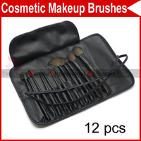 12 PCS Pro Eyelash Eyebrow Lip Eye Sponge shadow Eyeshadow Blusher Brushes Cosmetic Makeup Make up with Leather Case 2927