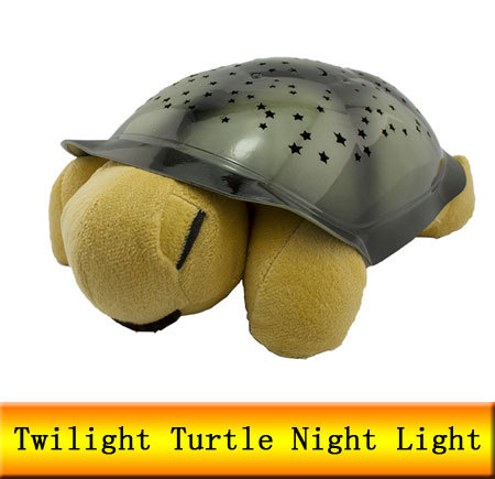 Full night sky projection Yellow Twilight Turtle Mini Projector Night Lights start for Children Free Shipping(China (Mainland))