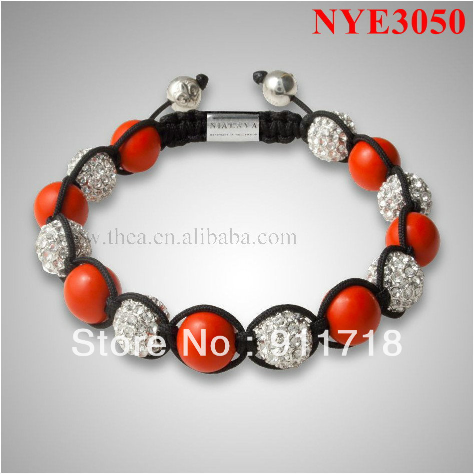 NYE3050 Free shipping charming design red coral stone with diamond alloy beads shamballa bracelet vners jewelry turkey(China (Mainland))