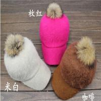 Raccoon hair ball rabbit fur fleece baseball cap women's autumn and winter