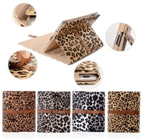 Luxury Button Belt Strap LEOPARD PRINT Case Cover Stylus Stand For iPad 4 3 2