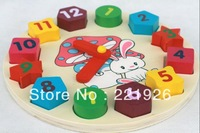 "Free Shipping Wood-N-Things Child's Wooden ""Tell The Time"" Learning Clock Puzzle Multi-Color"