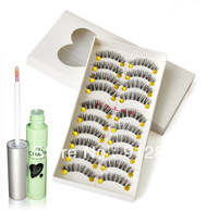 Free Shipping 10 Pairs 002# False Eyelashes by Human Hairs + Free Gift Green Eyelashes Glue