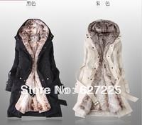 Faux fur lining women's fur coats winter warm long coat jacket clothes wholesale Free Shipping Winter Clothing/Women Clothes