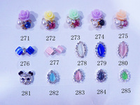Free Shipping 2013 Nail Art 3D Rose Nail Decoration 100Pcs Mixed Styles DIY Nail Jewelry Alloy Rhinestone