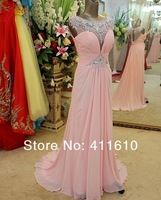 Wholesale-2013 New Sequins Crystal Pageant Couture Dresses Court Train Chiffon Pink Evening Dresses