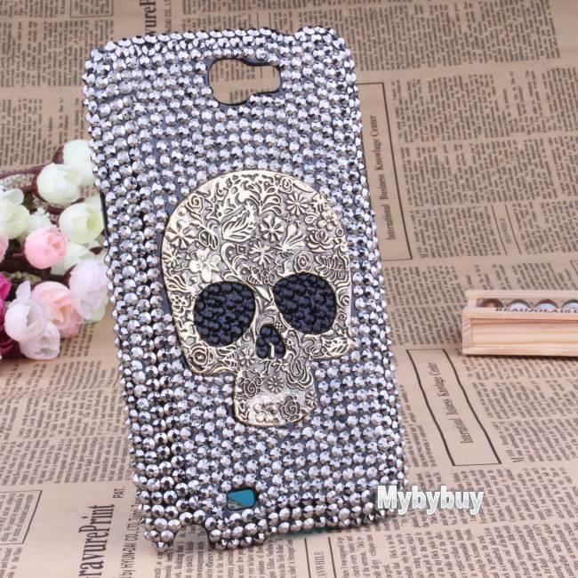Cool Handmade Diamond Crystal Skull Case Cover For Samsung Galaxy Note 2 N7100.(China (Mainland))