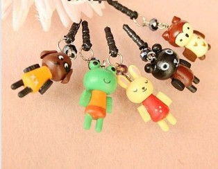 New wooden kawaii animal series B dustproof plug ear Cap for iphone4,4s ,/dust plug A1098(China (Mainland))