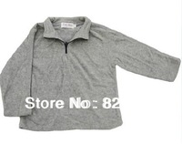 1 piece FREE SHIPPING BOYS full sleeve  material towel warm woolly feel T shirts gray colours