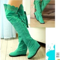 Fashion spring and autumn high-heeled boots high-leg over-the-knee wedges boots cutout women's winter shoes