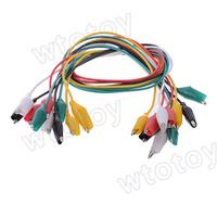 10pcs/Lot Alligator Croc Clip Test Leads Color Jumper Cable Wires 54cm 20698