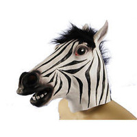 Free shipping zebra mask Dance party mask of terror a face mask latex gangnam