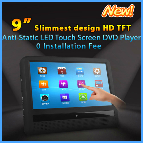 Super slim 9 inch HD Touch Screen Car Headrest DVD Player with 32Bit Game+USB+SD+IR/FM transmitter, 2 IR headphone for BMW Audi(China (Mainland))