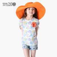Pptown children's clothing female child summer 2013 female child t-shirt romantic print child t-shirt summer 0780