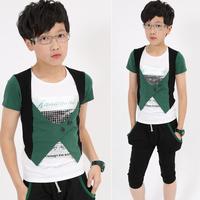 Child summer male children's clothing child faux two piece short-sleeve T-shirt capris child sports set