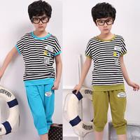 Children's clothing set 2013 male child stripe short-sleeve t-shirt child sports set summer set