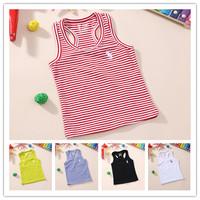 13 summer male female unisex child 100% cotton 100% cotton solid color fine stripe polo spaghetti strap tank top