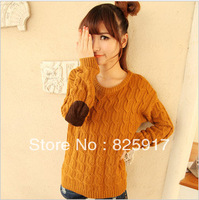 2013 spring and autumn sweater women's o-neck twisted patch applique long-sleeve pullover sweater female