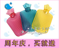 Fish water transparent pvc hot water bottle cooler bag small rectangle double faced anti-hot 750ml