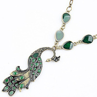 A165 Man Woman Fashione Jewelry Green Peacock Pendant Necklaces