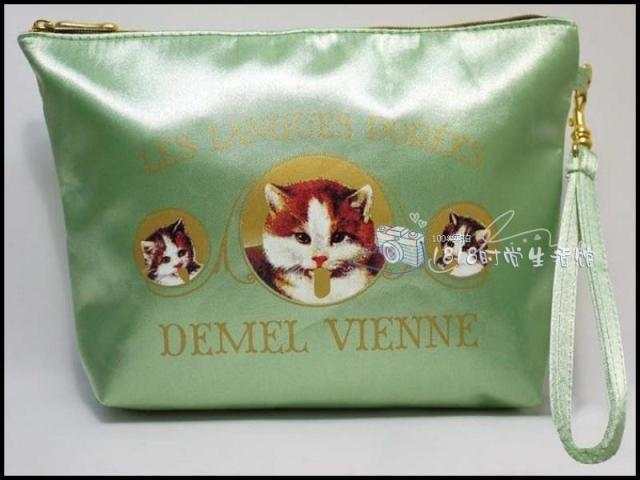 Special Japanese magazine section GLOW appendix green cat kitty design ship type small cosmetic bag to receive bag day clutch(China (Mainland))