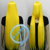 Cosplay wig female long straight hair wig yellow high temperature wire straight hair