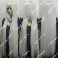 Cosplay wig silver grey wig high temperature wire 1 meters long straight hair