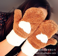 Free Shipping Love plush thick warm gloves / full finger gloves women warm / warm full finger gloves