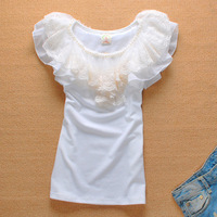 2013 Summer Womens Lace Beading Embroidery Short Sleeve T Shirt Shirts Cotton Cute Sweet Tops Tee for Women Ladie Free Shipping