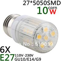 6pc/lot LED White Stripe mask E27/E14/G9 27*5050 SMD 10W 720-800LM LED Corn Bulb White / Warm White 110V and 220V Shipping Free