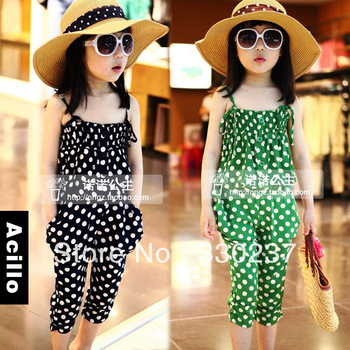 3 Colors,4 Sizes,Free Shipping Girls Cotton Lantern Set Wholesale Camisole Harem Pants Suit Wholesale Factory Direct Sale(China (Mainland))