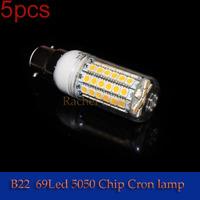 5pcs/lot Super brightness B22  3w SMD3528 48leds 10w 69leds SMD5050  Screw Led Corn Light 360 degree lighting angle led bulb