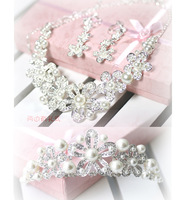 Free Shipping Necklace & Earrings & Crown Flower Pearl Jewelry Set Safest Package with Reasonable Price