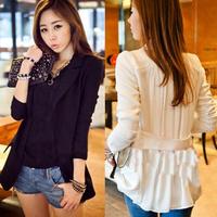 8294 2013 spring slim long design one button blazer patchwork chiffon top outerwear  4 size Free shipping Woman jacket