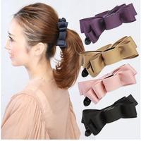 Free Shipping Hair accessory beautiful fabric bow multi-layer vertical clip banana clip