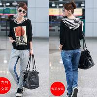 factory sell  plus size clothing plus size girls spring 2013 plus size t-shirt female long-sleeve basic women's shirt