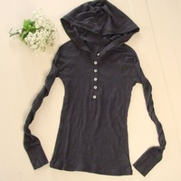 Fashion all-match women's slim pullover with a hood ultra-thin sweatshirt basic T-shirt long-sleeve shirt