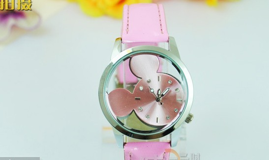 Free Shipping Lovely Hollow Mickey Mouse Multicolor Leather Quartz Watches Korean Fashion Cartoon Wristwatch 6color(China (Mainland))