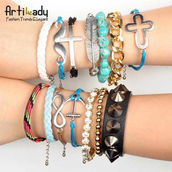 Artilady 2014 stacking bracelets pack set charm friendship infinite bracelet wrap strand bracelet for women jewelry