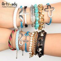 Artilady 2013 stacking bracelets pack set charm friendship infinite bracelet wrap strand bracelet for women jewelry