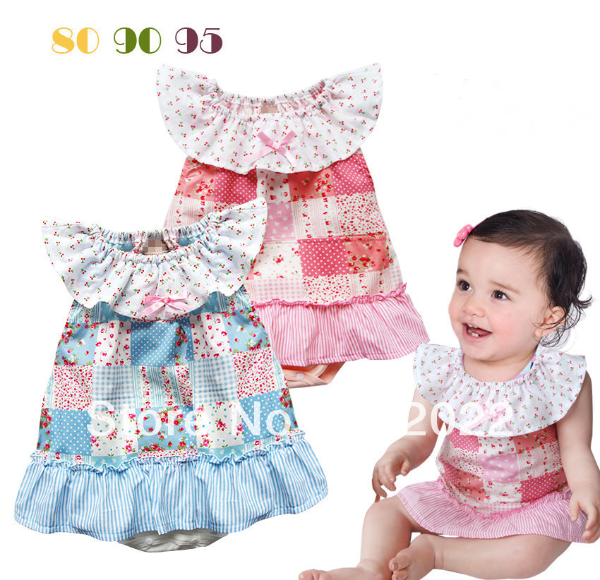 Free Shipping Children Wear infant Girl's mini floral patchwork baby romper(China (Mainland))