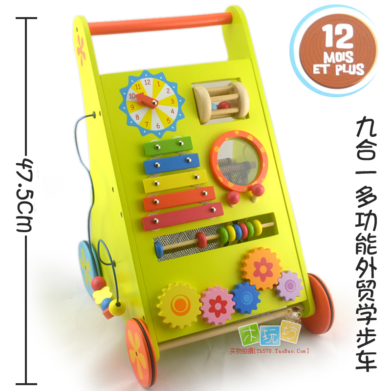 Original 10 1 wooden multifunctional baby walker child stroller baby toy(China (Mainland))