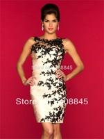Dresses New Fashion 2013 Fast Free Shipping High Neck Black Appliques Sheath Mini Cocktail Dresses 2013